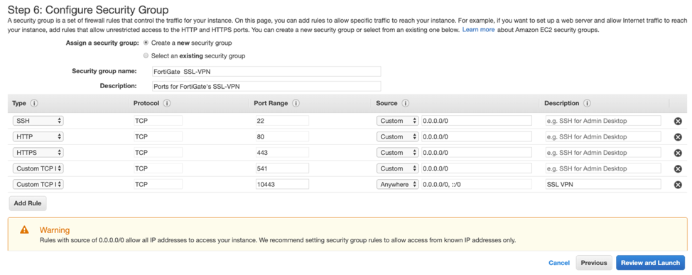 Figure 4. Adding inbound rules to a Security Group