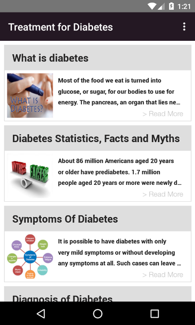 "Diabetes resources in the ""Treatment for Diabetes"" app"