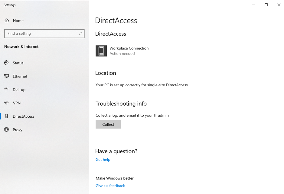 Figure 1: Windows 10 Enterprise with DirectAccess Enabled