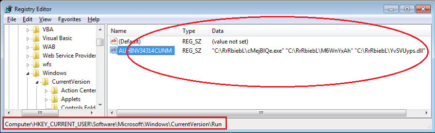 Figure 3. Added into auto-run group in the system registry