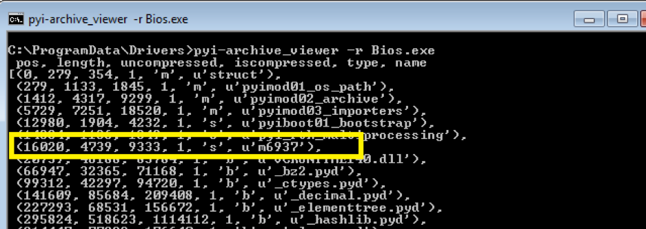 Fig. 10. pyi-archive_viewer showing files contained in the package