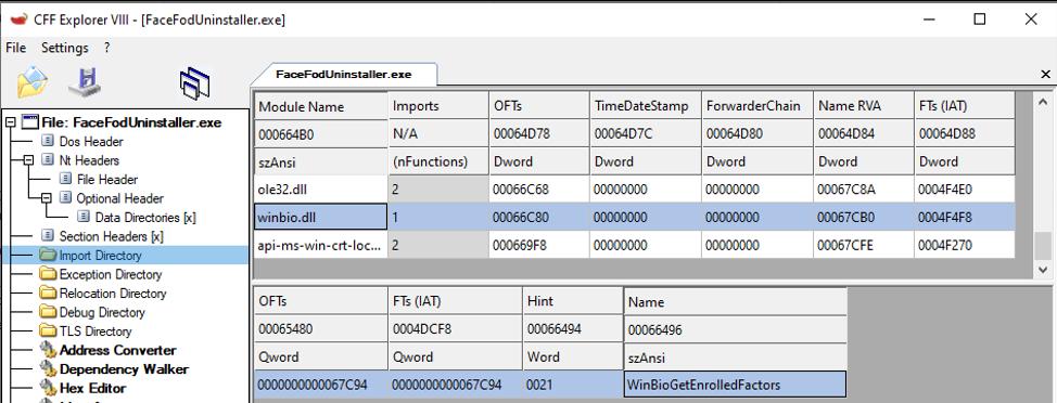 Figure 1: FaceFodUninstaller.exe import table