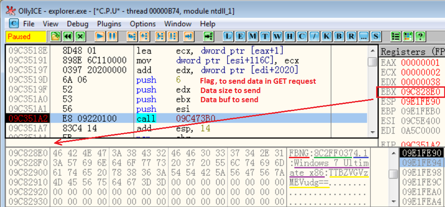 Figure 3.1 – Calling a decrypted function to send basic information to the C2 server
