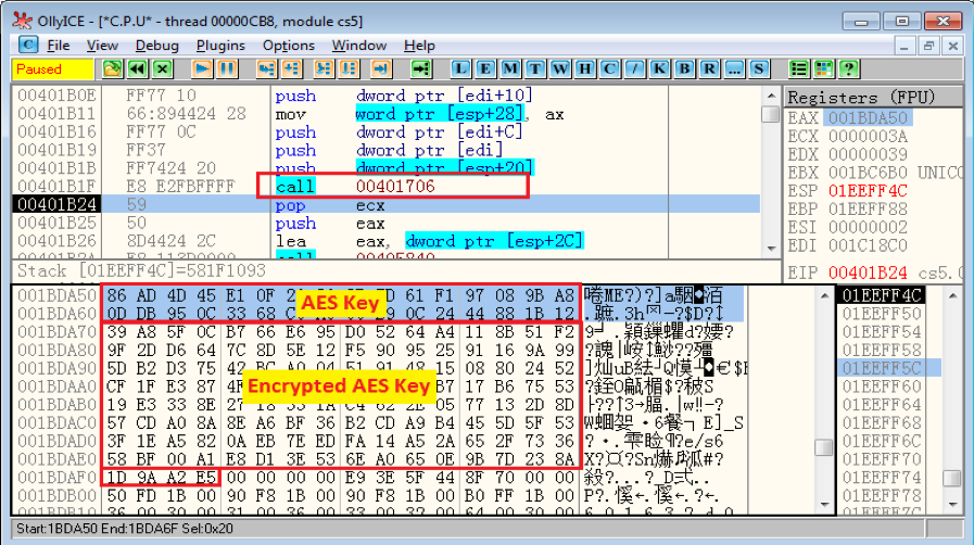 Figure 5.2 AES key and its public key encrypted