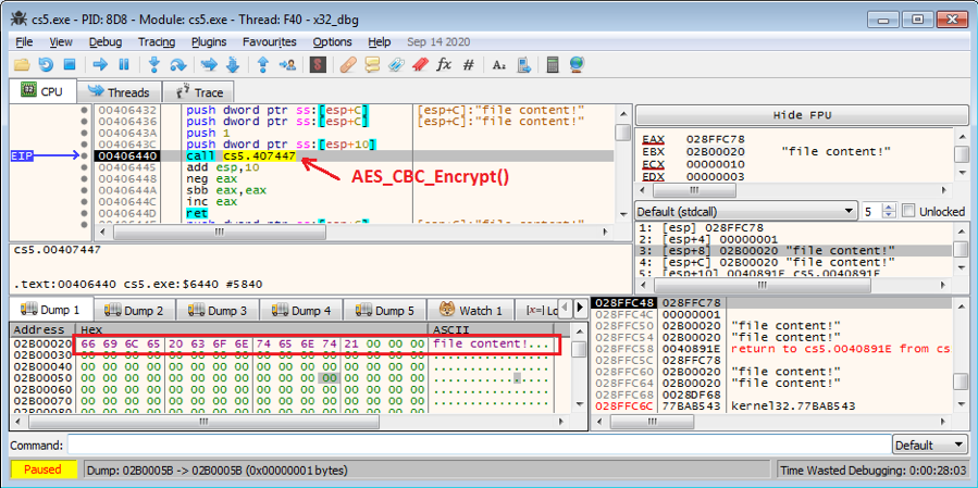 Figure 5.4 Calling the AES_CBC_Encrypt() function to encrypt file content