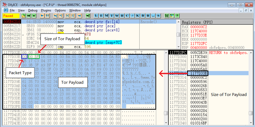 Figure 9. Tor payload to be encrypted