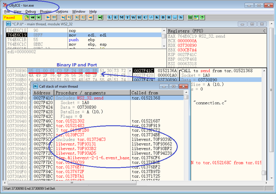 "Figure 7. ""tor.exe"" uses libevent module to send bridge's IP and Port to bridge process"