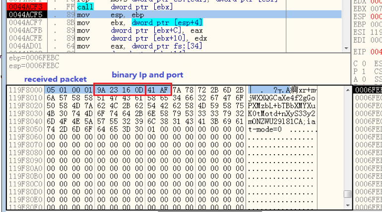 "Figure 6. ""obfs4proxy.exe"" received one ""obfs4"" bridge's IP address and Port"