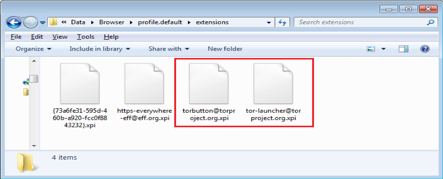 Figure 10. Tor extension files