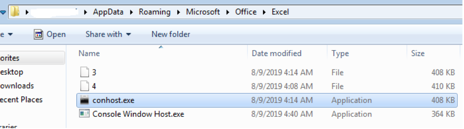 Files Dropped in the %AppData%\Microsoft\Office\Excel Folder