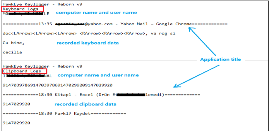 clipboard and keyboard data HawkEye malware