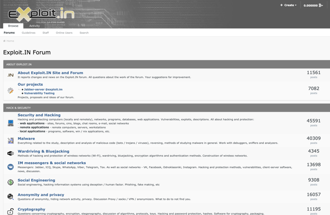 Exploit.IN is a popular security discussion forum