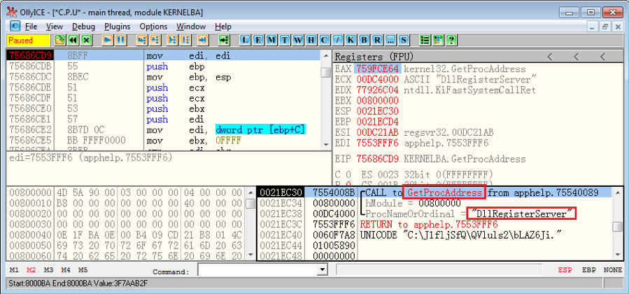 "Figure 2.4. ""regsvr32.exe"" calls GetProcAddress() to obtain DllRegisterServer()"
