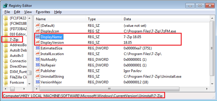 Figure 4.1 Installed 7-Zip subkey information