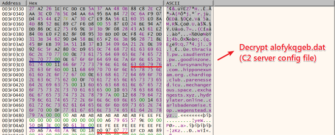 Figure 25. Decrypt data in alofykqgeb.dat