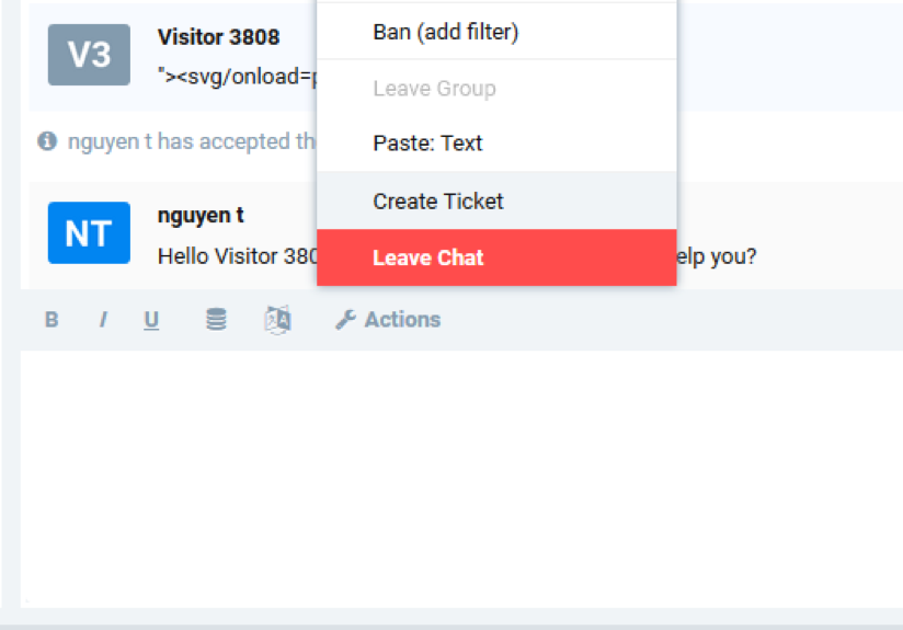 Creating Ticket action from Admin