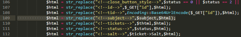 Code snippet of ticket.php