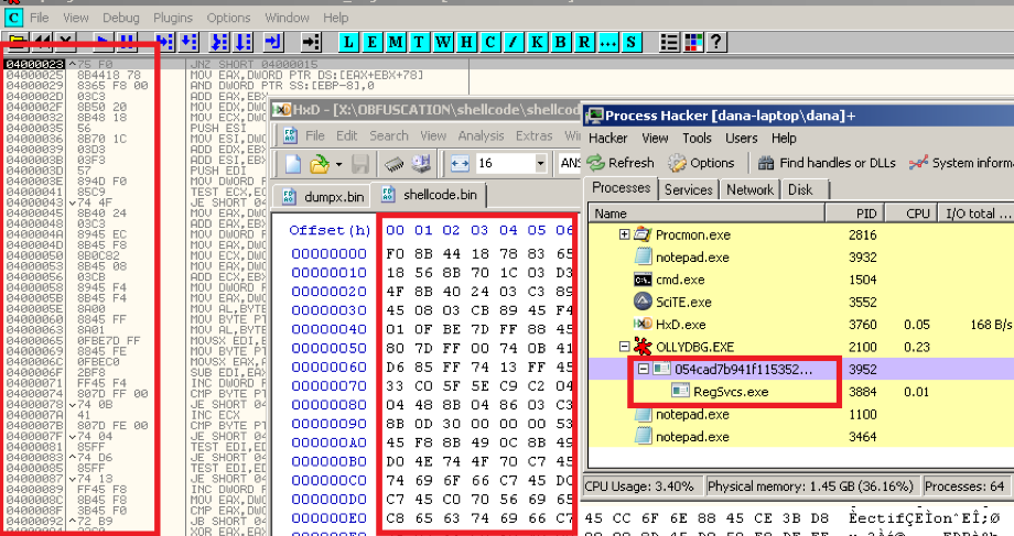 Figure 6. Debugger/Shellcode analysis and execution