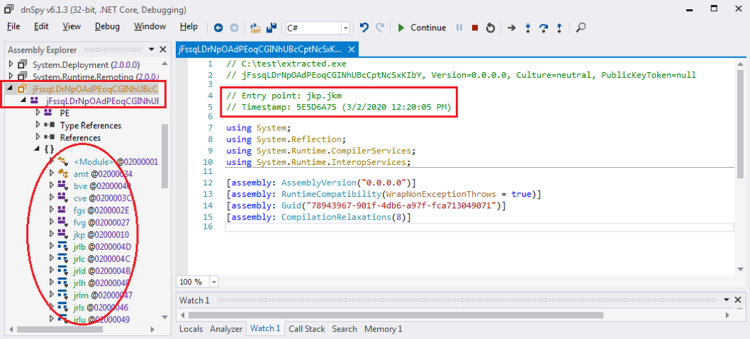 Figure 10. Analyzing the .Net application in .Net debugger dnSpy
