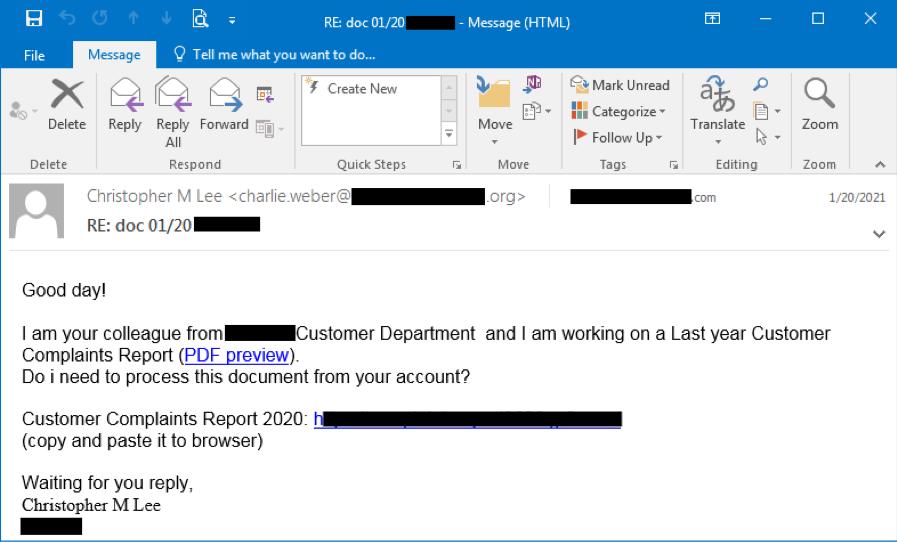 Figure 1.1 Bazar phishing email captured on Jan 20, 2021