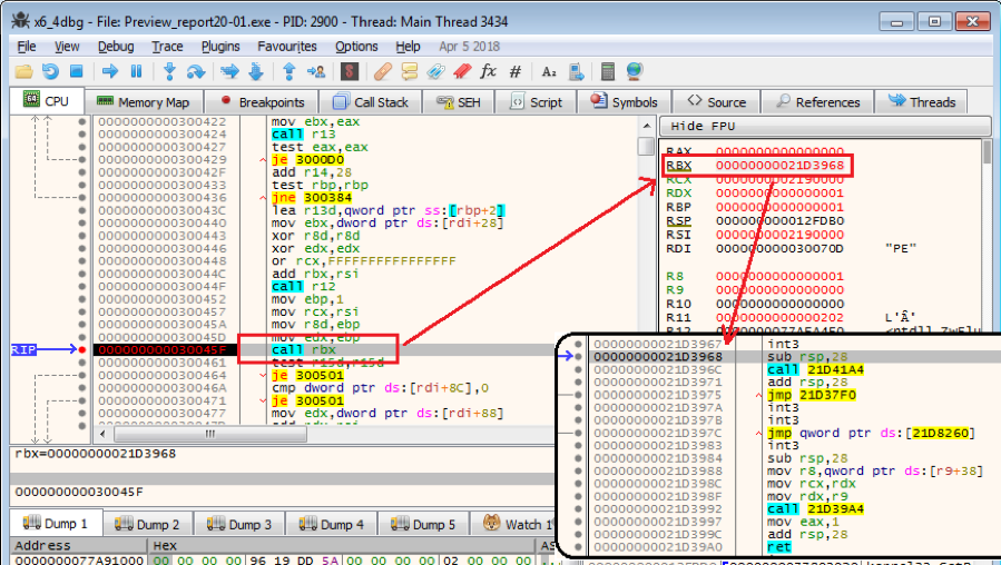 Figure 2.3. Calling the OEP of the deployed PE file