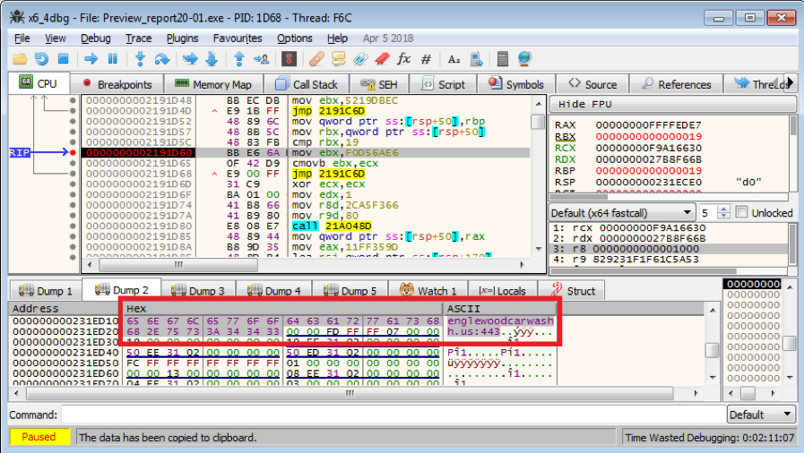 Figure 3.1. A display of the decrypted host string of the C2 server