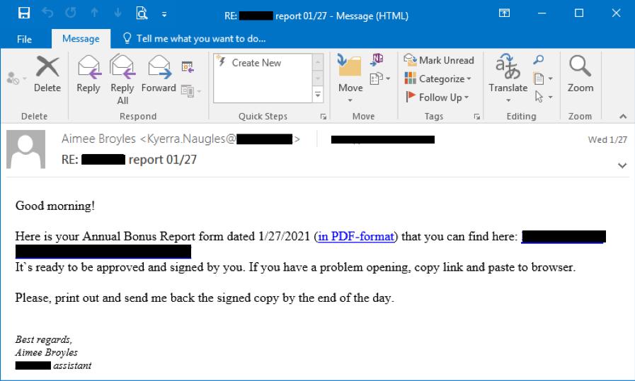 Figure 1.2 Bazar phishing email on Jan 27, 2021