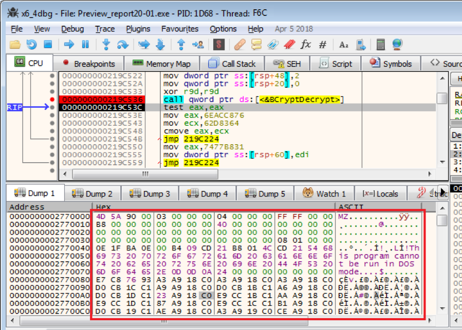 Figure 3.3. The decrypted Bazar payload returned  from the C2 server