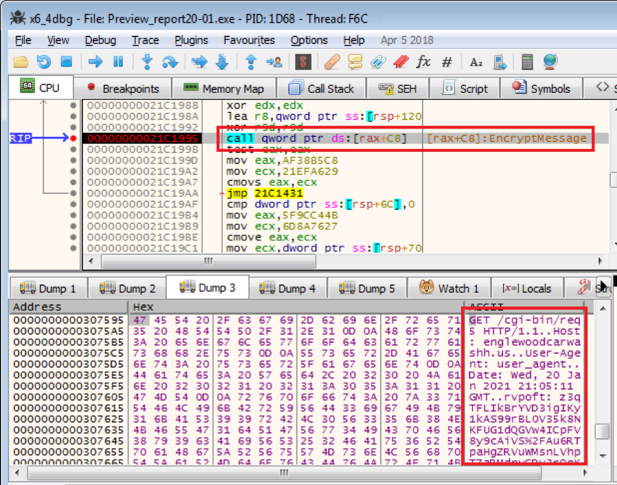 Figure 3.2. An encrypted packet sent to the C2 server
