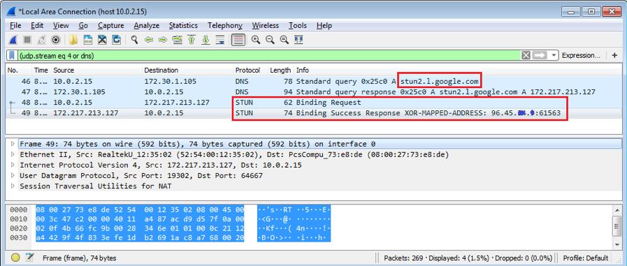 Figure 4.1. Obtaining the victim's public IP address using the Google STUN service.