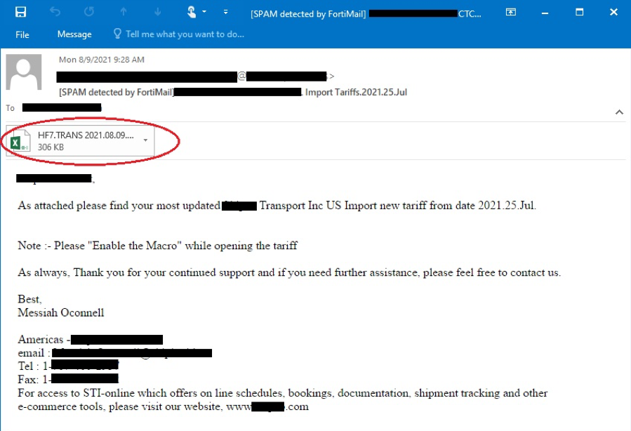 Figure 1.1 – Text of a recently captured phishing email