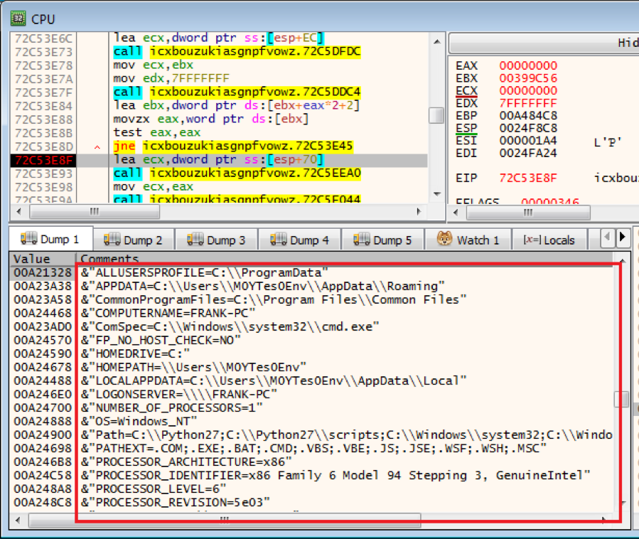 Figure 6.1 – Display of obtained environment variables in the victim's device