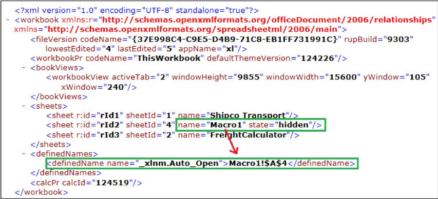 """Figure 2.2 – Excel 4.0 Macro sheet is defined in """"Workbook.xml"""""""