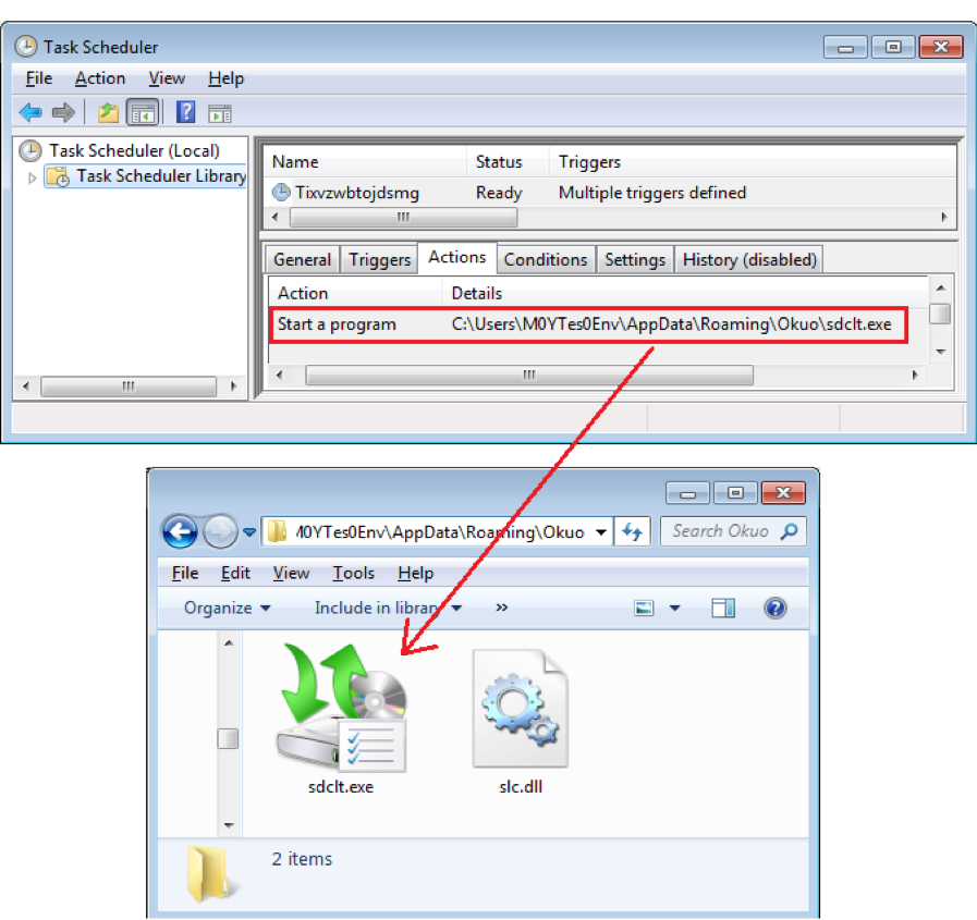 Figure 7.3 – Added scheduled task and copied Window program and dll files.