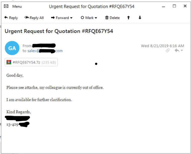 Figure 1. Variant of spam email sent to recipient