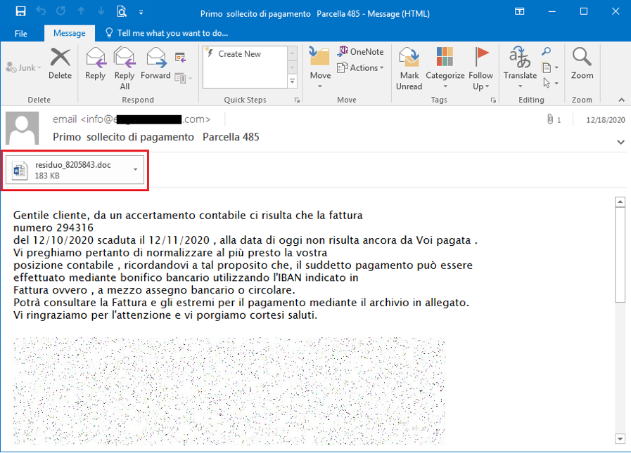 Figure 1.1. Phishing Email and attached MS Word document