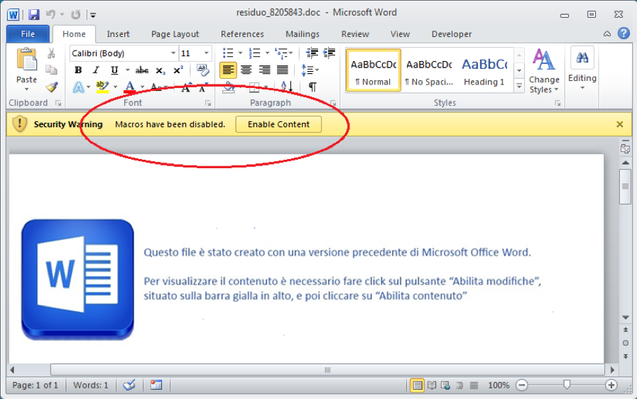 Figure 2.1. Opening the attached document in MS Word program