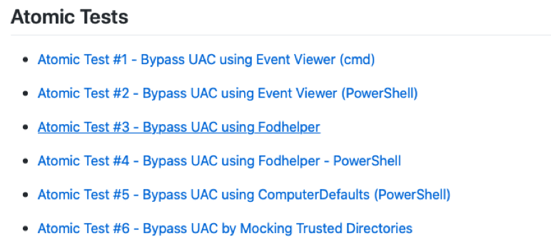 Figure 8. A list of Bypass UAC tests