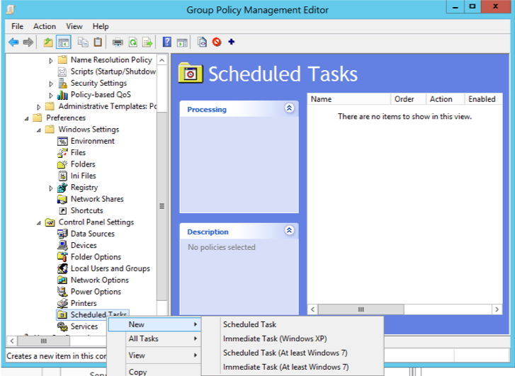 Figure 4. Creating a Scheduled Task in GPO