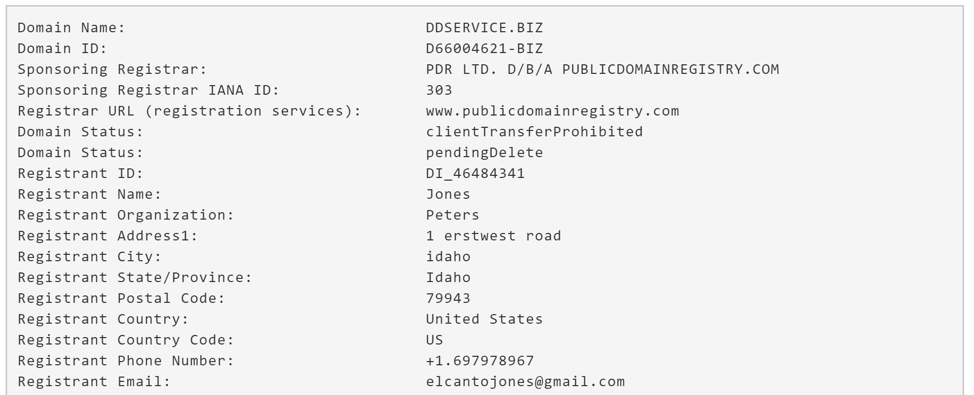 Figure 5. Historical WHOIS Information for ddservice.biz