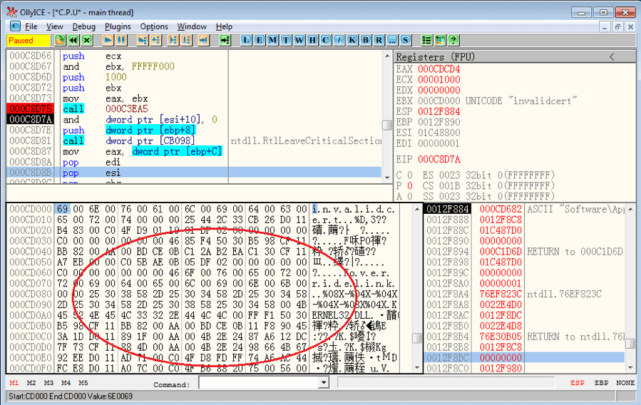"Part of decrypted "".bss"" data"