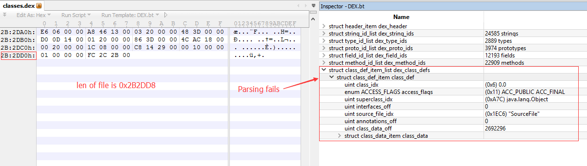 Figure 2.  010 Editor fails to parse the Dex file