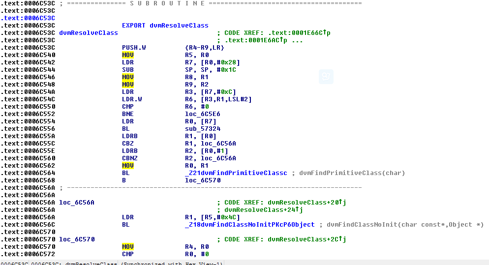 Figure 6.  The correct ARM instructions of dvmResolveClass in IDA Pro