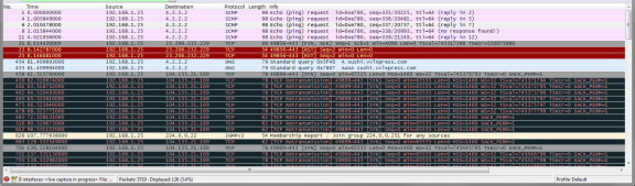 Figure 5. Wireshark showing TCP retransmission error while connecting to the server